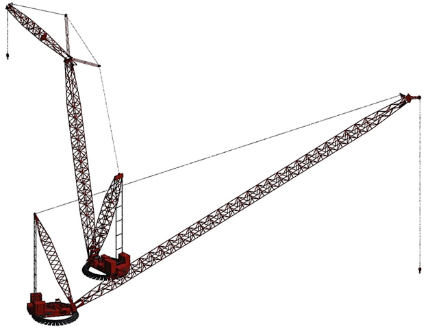 Manitowoc 888 Ringer with attached luffing jib (back) and with boom only (front)