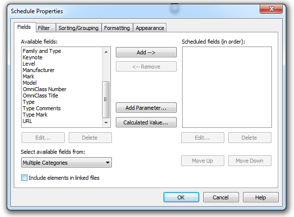 Schedule Properties Dialog (Empty Project)
