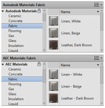 Revit 2013 Material Editor - Some differences between the Autodesk