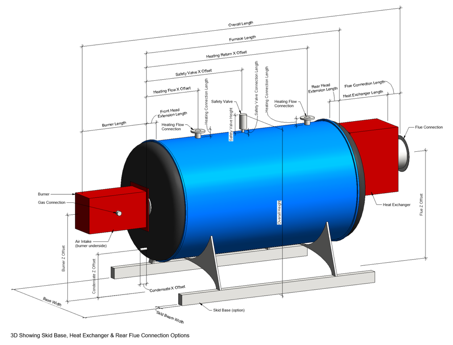 Non-Condensing Boiler Revit Family by Andekan – 3D Fine View with Dimensional Parameters Indicated - Skid Base
