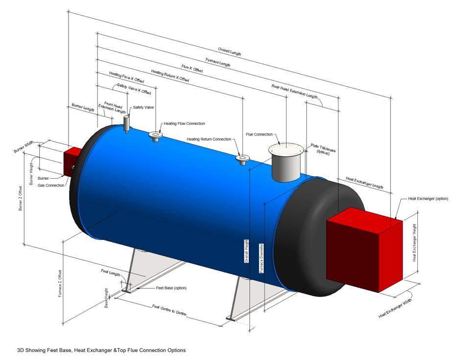 Non-Condensing Boiler Revit Family by Andekan – 3D Fine View with Dimensional Parameters Indicated