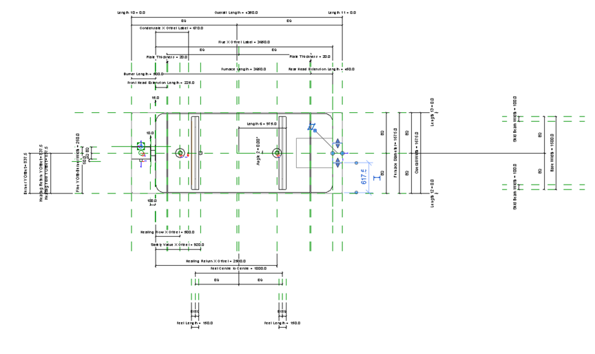 Non-Condensing Boiler Revit Family by Andekan – Top View Showing 2D Details