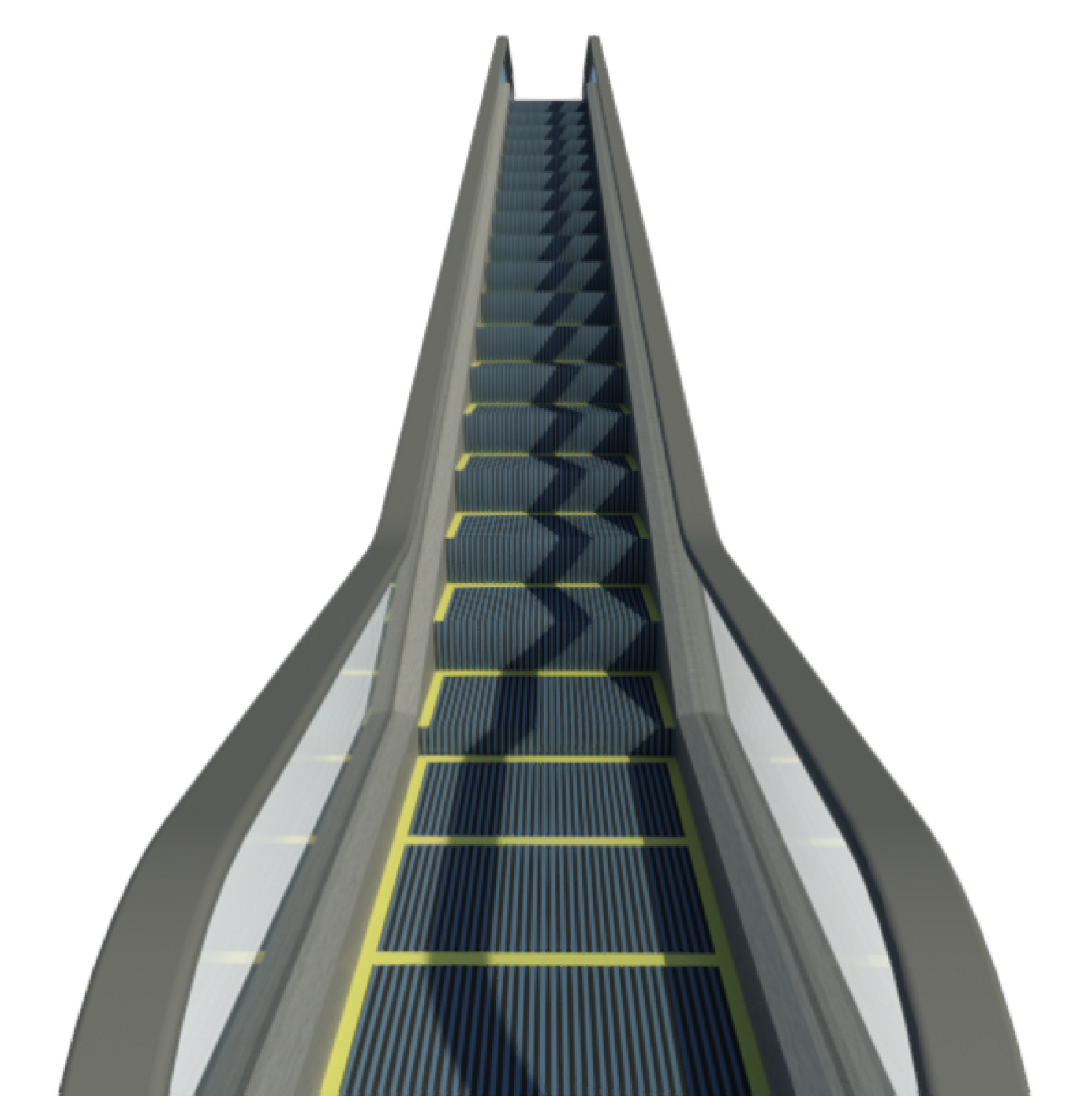 Render of escalator family from below